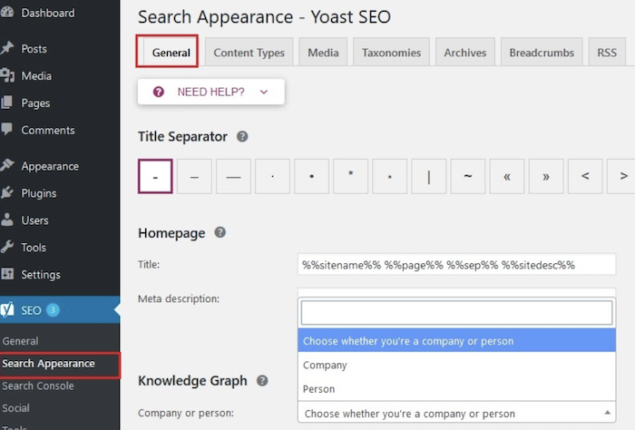 6 Search Appearance Yoast SEO